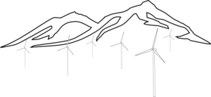 Mountain With Wind Turbines  Clip Art