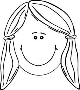 Smiling Girl Face Balck & White Clip Art at Clker.com ...