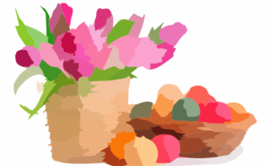 Pink Tulips In Basket Colorful Easter Eggs X Wide Wallpapers Net Clip Art