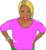 Woman  In Pink T-shirt Clip Art