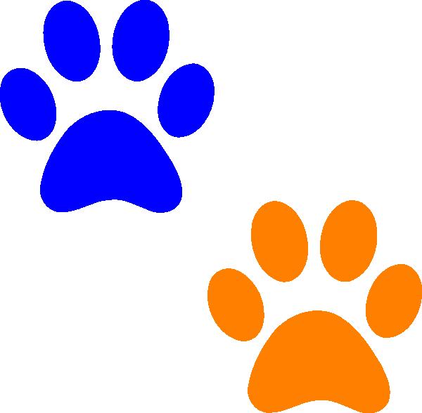 orange and blue paw prints clip art at clkercom vector