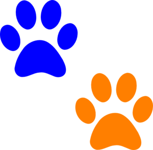 Orange And Blue Paw Prints Clip Art