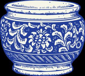 blue and white vase clip art