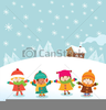 Kids In Snow Clipart Image