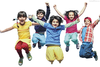 Happy Little Kids Jumping And Dancing Image