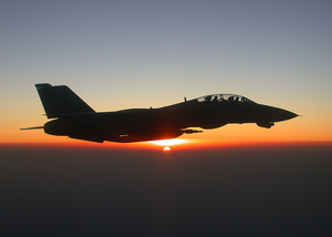 An F-14 Tomcat Fighter Jet In-flight Over Afghanistan. Image