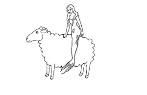 Mermaid Riding On A Sheep Image