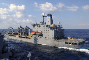 Usns Yukon (t-ao 202) Steams Alongside Uss Kitty Hawk (cv 63) During A Replenishment-at-sea (ras) Evolution Image