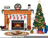 Christmas Stockings Fireplace With Fire Clipart Image
