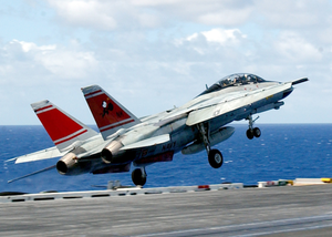 F-14d Launches From Carrier Flight Deck Image