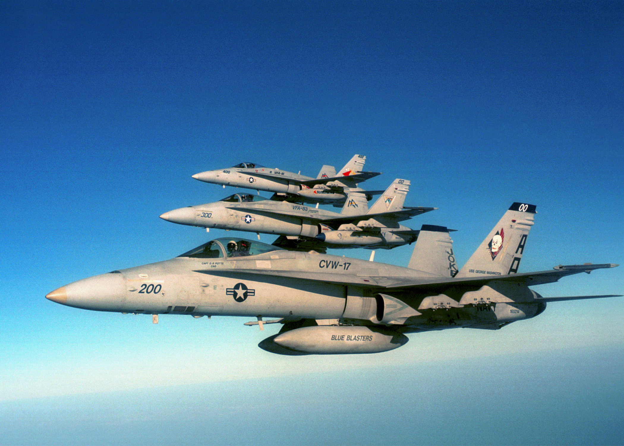 F/a-18 Hornet Strike Fighters From Carrier Air Wing One