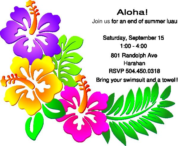 luau party invitation clip art at clker com vector clip art online