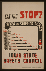 Can You Stop? - Speed And Stopping Distance - Iowa State Safety Council  / Designed & Produced By Iowa Art Program. Image