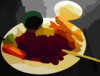 Teriyaki Chicken And Tempura Prawns In Vancouver Vector Colour Enhance Image