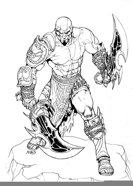 Kratos Coloring Pages Free Images At Clker Com Vector