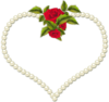 Frame Heart Pearl And A Rose Transparent Image
