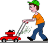 Free Clipart Of Man Cutting Grass Image