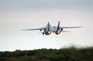 An F-14b  Tomcat  Assigned To The Fighter Squadron One Zero Three (vf-103)  Jolly Rogers  Takes Off From The Runway At The Croatian Air Force Base Near Pula, Croatia. Image
