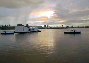 The Sun Rises Over The Uss Arizona Memorial On The Morning Of The 62nd Anniversary Of The Attack On Pearl Harbor, December 7, 1941. Image