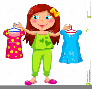 Girl Getting Dressed Clipart Image