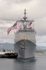 Assisted By A Harbor Tug, Uss Chosin (cg 65) Inches Her Last Few Feet Back Home Toward Her Berth In Pearl Harbor, Hawaii Image
