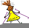 Girl Crutches Clipart Image