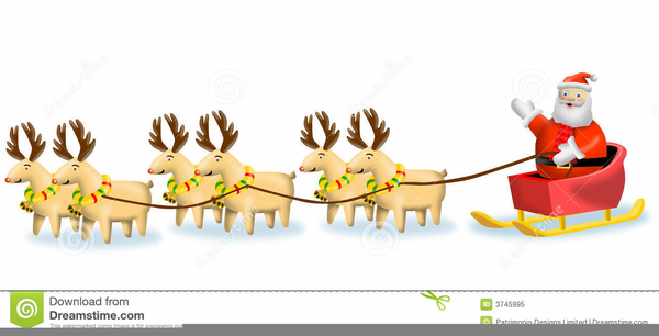 reindeer pulling sleigh clipart free free images at clker com