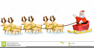 Reindeer Pulling Sleigh Clipart Free Image