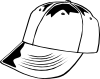 Baseball Cap (b And W) Clip Art