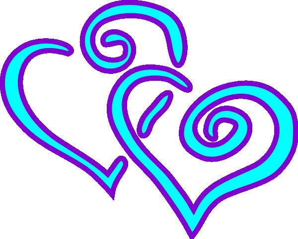 Aqua Purple Double Hearts Clip Art at Clker.com - vector clip art ...