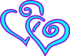 Aqua Purple Double Hearts Clip Art
