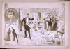 [horrified Onlookers In Formal Dress View Dead Woman And Smoking Gun On Floor; Vignettes Of Couple And Portrait On Left Side] Image