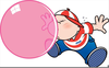 Bubble Gum Blowing Clipart Image