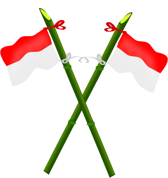 indonesian flag. Bamboo And Indonesian Flag-2