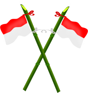 Bamboo And Indonesian Flag-2 Clip Art