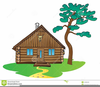 Log Cabin In Woods Clipart Image