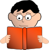 Man Reading With Glasses Clip Art