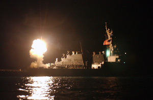 The Guided Missile Destroyer Uss Donald Cook (ddg 75) Launches Tomahawk Land Attack Missiles (tlams) Into Iraq. Image