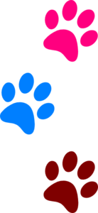 Paws Red Blue Green 1 Clip Art
