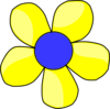 Blue And Yellow Flower Shaded Clip Art