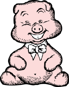 Pig With White Bowtie Clip Art
