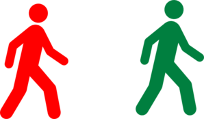 Walking Man Red Green Clip Art