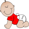 Crawling Baby With Red Shirt Clip Art