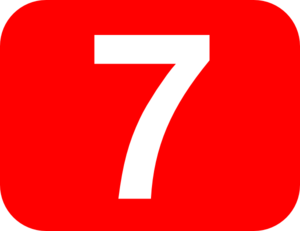 Number 7 Red Background Clip Art