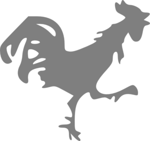 Grey Rooster Clip Art