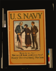 U.s. Navy-- Here He Is, Sir --we Need Him And You Too! Navy Recruiting Station  / Drawn By Charles Dana Gibson. Clip Art