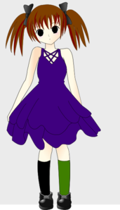 Emo Girl In Blue Dress Clip Art