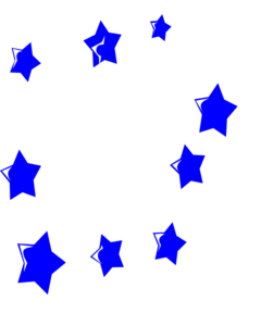 White Fireworks With Blue Stars Clip Art