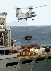 A Ch-46 Sea Knight Helicopter Delivers Supplies From The Fast Combat Support Ship Uss Bridge (aoe 10) To The Aircraft Carrier Uss Constellation (cv 64) During An Underway Replenishment Clip Art