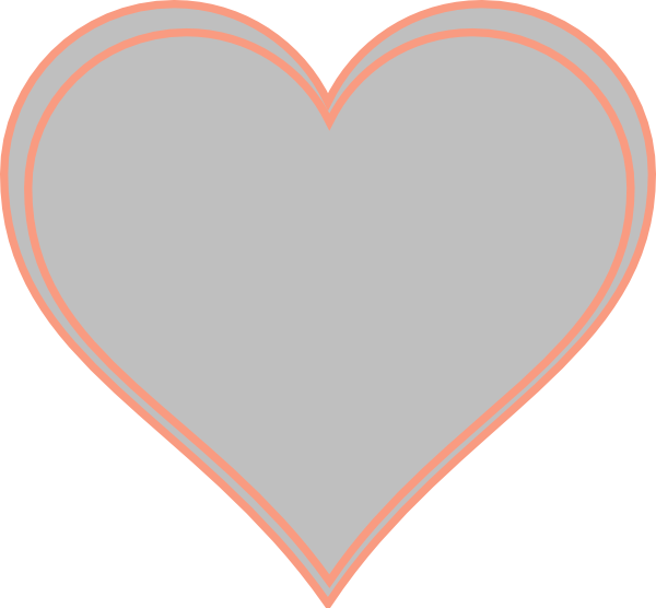 Double Outline Heart Peach With Grey Clip Art at Clker.com ...